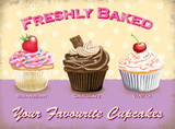 Freshly Baked - Your Favourite Cupcakes Blikskilt