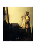Young Lady with a Pearl Necklace Giclee Print by Jan Vermeer
