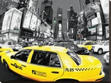 Rush Hour Times Square-Yellow Cabs Stretched Canvas Print