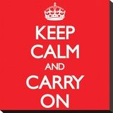 Keep Calm and Carry On- Red Stretched Canvas Print