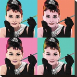 Audrey Hepburn-Pop Art Stretched Canvas Print