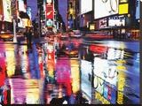 Times Square en colores Reproducción en lienzo de la lámina