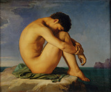 Jeune Homme nu Assis, c.1855 Premium Giclee Print by Hippolyte Flandrin