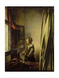 Woman Reading a Letter at an Open Window Impression giclée par Jan Vermeer