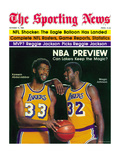 Los Angeles Lakers Magic Johnson and Kareem Abdul-Jabbar - October 11, 1980 Premium Photographic Print