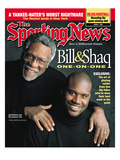 Boston Celtics' Bill Russell and Los Angeles Lakers' Shaquille O'Neal - March 1, 1999 Print
