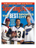 Best Sports City St. Louis - Jim Edmonds, Chris Pronger and Kurt Warner - August 14, 2000 Premium Photographic Print