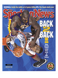 Los Angeles Lakers&#39; Shaquille O&#39;Neal and Philadelphia 76ers&#39; Dikembe Mutombo - NBA Champions - June Poster