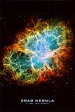 Krebsnebel im Weltall mit Text, Wissenschaftsposter Poster