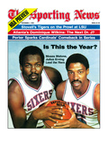 Philadelphia 76ers Moses Malone and Julius Erving - November 1, 1982 Premium Photographic Print