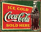 Ice cold Coca Cola - plaque métallique verte Plaque en métal
