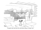 """""""Except for that wall socket, the whole damn thing is a trompe-l'oeil."""" - New Yorker Cartoon Premium Giclee Print by Jack Ziegler"""
