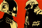 Daft Punk Red Background Music Poster Print Pôsters
