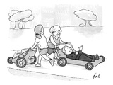 A psychiatrist is jogging in the park while pushing his patient on a couch… - New Yorker Cartoon Premium Giclee Print by Tom Toro