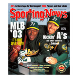 Oakland A's Miguel Tejada and Barry Zito - March 31, 2003 Foto