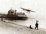 Airplane on the Beach of Nice, 1914 Photographic Print by Scherl