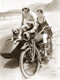 Women Drive a Motorcycle with a Sidecar, 1930 Photographic Print by Scherl