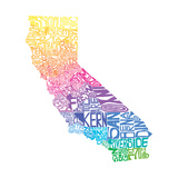 Typographic California Spring Premium Giclee Print by  CAPow
