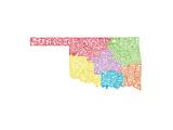 Typographic Oklahoma Regions Premium Giclee Print by  CAPow