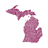 Typographic Michigan Maroon Posters por  CAPow
