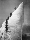 Ascent of an Ice Tower in the Alps Photographic Print by  Scherl