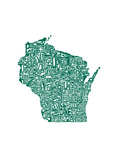 Typographic Wisconsin Forest Premium Giclee Print by  CAPow