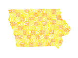 Typographic Iowa Yellow Orange Premium Giclee Print by CAPow