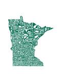 Typographic Minnesota Green Prints by  CAPow