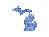 Typographic Michigan Blue Arte por  CAPow