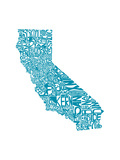 Typographic California Teal Premium Giclee Print by  CAPow