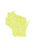 Typographic Wisconsin Chartreus Premium Giclee Print by  CAPow