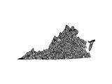 Typographic Virginia Premium Giclee Print by  CAPow