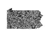 Typographic Pennsylvania Premium Giclee Print by  CAPow