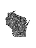 Typographic Wisconsin Print by  CAPow