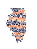 Typographic Illinois Illini Premium Giclee Print by  CAPow