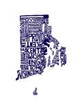 Typographic Rhode Island Navy Arte por  CAPow