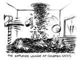 People are diving in piles of cash on the floor and in the air of the empl… - New Yorker Cartoon Premium Giclee Print by Lee Lorenz