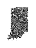 Typographic Indiana Premium Giclee Print by  CAPow