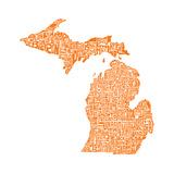 Typographic Michigan Orange Posters por  CAPow
