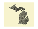Typographic Michigan Beige Background Pôsters por  CAPow