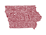 Typographic Iowa Maroon Prints by  CAPow