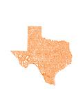 Typographic Texas Orange Posters por  CAPow