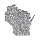 Typographic Wisconsin Charcoal Premium Giclee Print by  CAPow