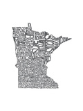 Typographic Minnesota Charcoal Posters by  CAPow