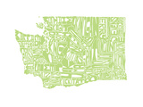 Typographic Washington Green Premium Giclee Print by CAPow