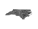 Typographic North Carolina Premium Giclee Print by  CAPow