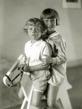 Children on a Rocking Horse, 1930 Photographic Print by  Scherl