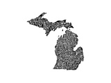 Typographic Michigan Premium Giclee Print by CAPow
