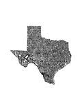 Typographic Texas Premium Giclee Print by  CAPow