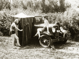Charlotte and Dorothy Wade with Bath Tent, 1931 Photographic Print by  Scherl